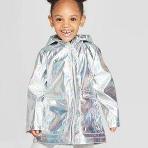 Cat&Jack girls 4t Rain coat Silver Iridescent